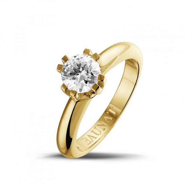 0.90 karaat diamanten solitaire design ring in geel goud met acht griffen