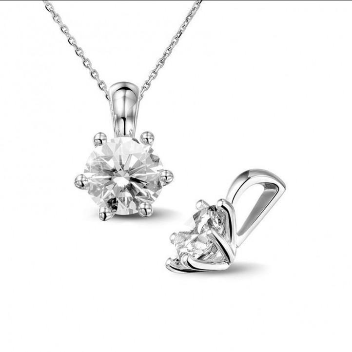 1.25 karaat solitaire hanger in platina met ronde diamant