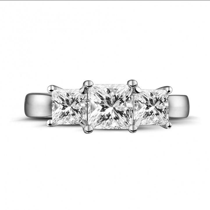 1.50 karaat trilogie ring in platina met princess diamanten