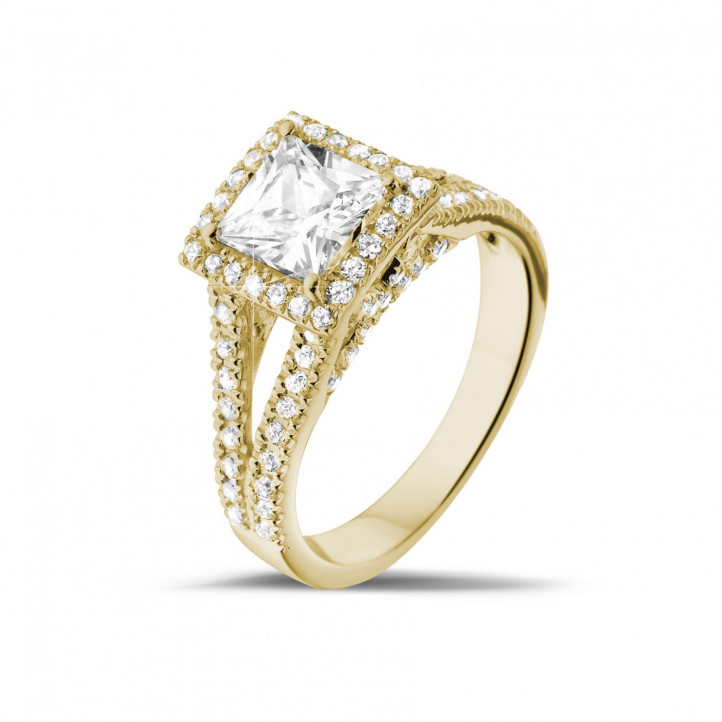 1.20 caraat solitaire ring in geel goud met princess diamant en zijdiamanten