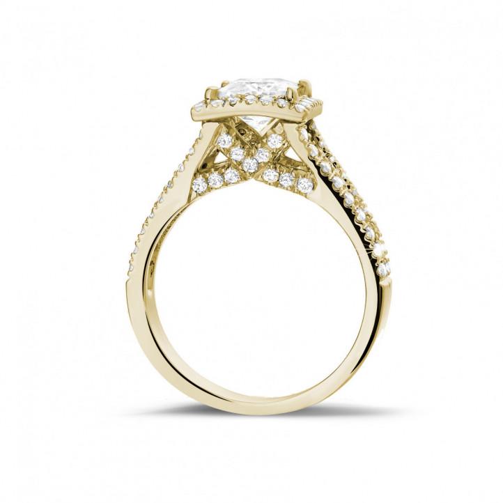 1.20 karaat solitaire ring in geel goud met princess diamant en zijdiamanten