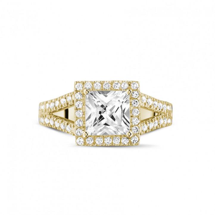 1.50 caraat solitaire ring in geel goud met princess diamant en zijdiamanten