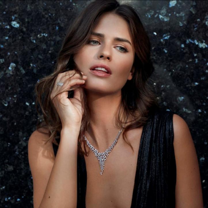 5.90 karaat diamanten halsketting in rood goud