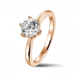 Ringen - BAUNAT Iconic 1.00 karaat solitaire ring in rood goud met ronde diamant
