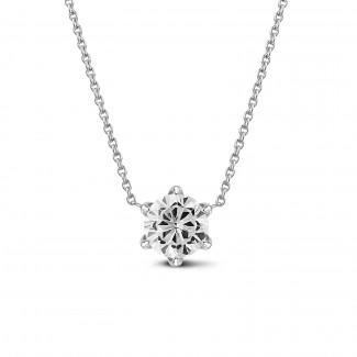 Halskettingen - BAUNAT Iconic 1.00 karaat solitaire hanger in wit goud met ronde diamant