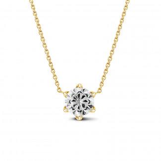 Halskettingen - BAUNAT Iconic 1.00 karaat solitaire hanger in geel goud met ronde diamant