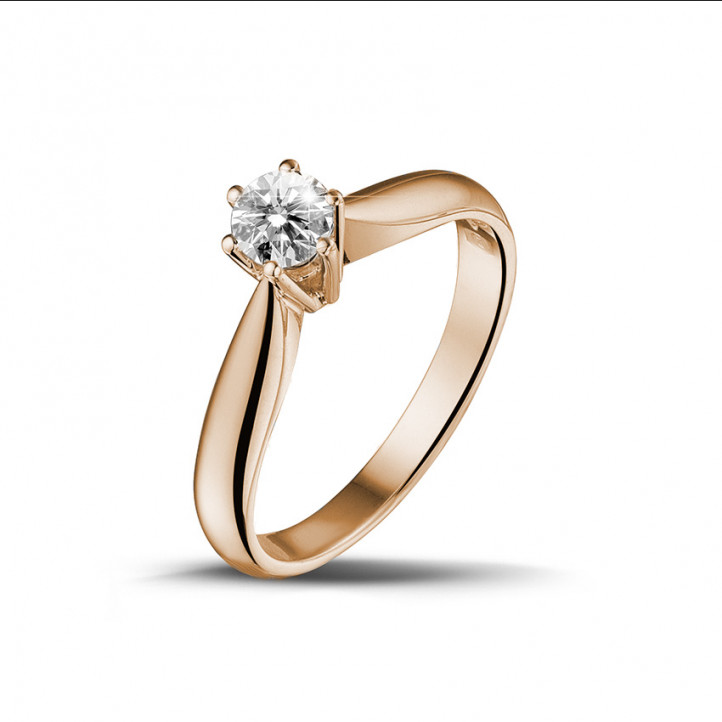 0.30 caraat diamanten solitaire ring in rood goud