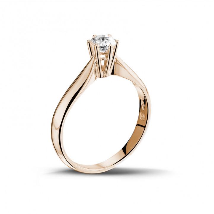0.30 caraat diamanten solitaire ring in rood goud
