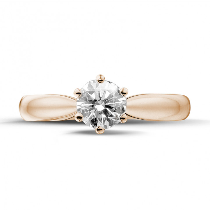 0.70 caraat diamanten solitaire ring in rood goud