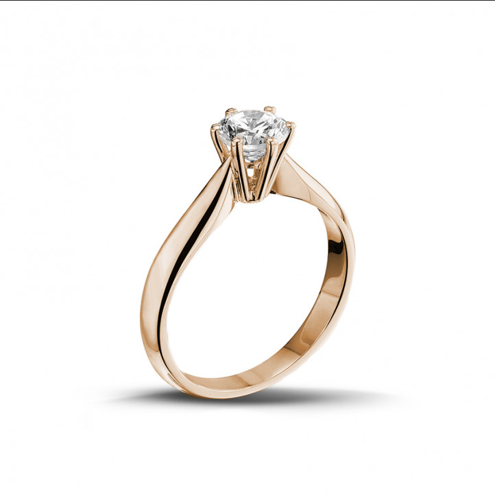 0.75 caraat diamanten solitaire ring in rood goud