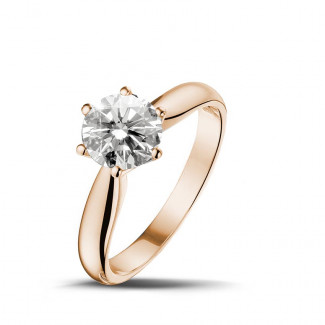 1.25 caraat diamanten solitaire ring in rood goud
