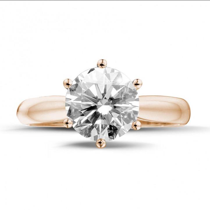 3.00 karaat diamanten solitaire ring in rood goud