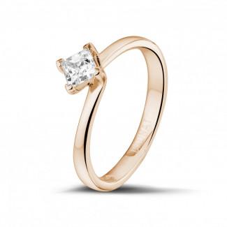 - 0.50 karaat solitaire ring in rood goud met princess diamant
