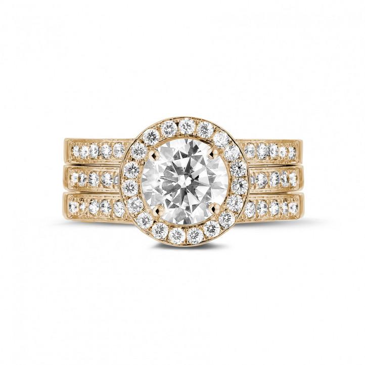 1.20 caraat diamanten solitaire ring in rood goud met zijdiamanten
