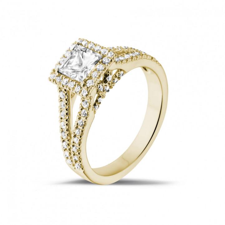 0.50 caraat solitaire ring in geel goud met princess diamant en zijdiamanten