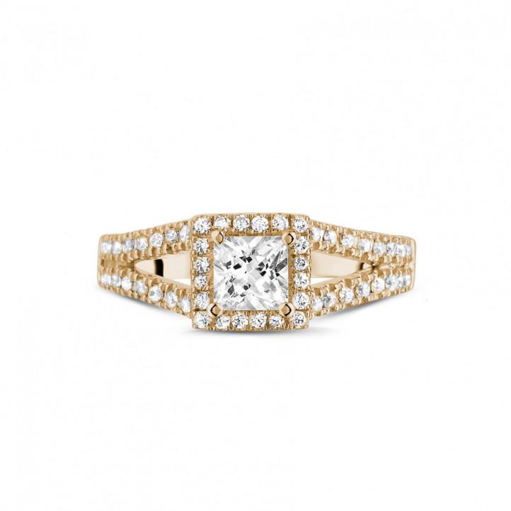 0.50 caraat solitaire ring in rood goud met princess diamant en zijdiamanten