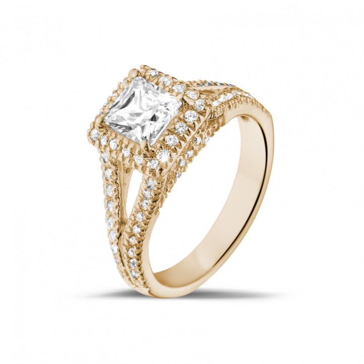 0.70 caraat solitaire ring in rood goud met princess diamant en zijdiamanten