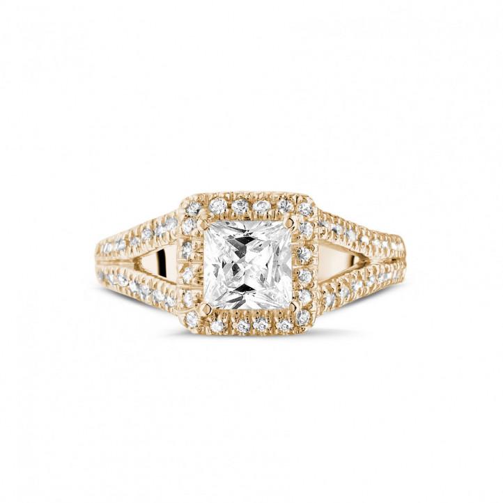 1.00 caraat solitaire ring in rood goud met princess diamant en zijdiamanten