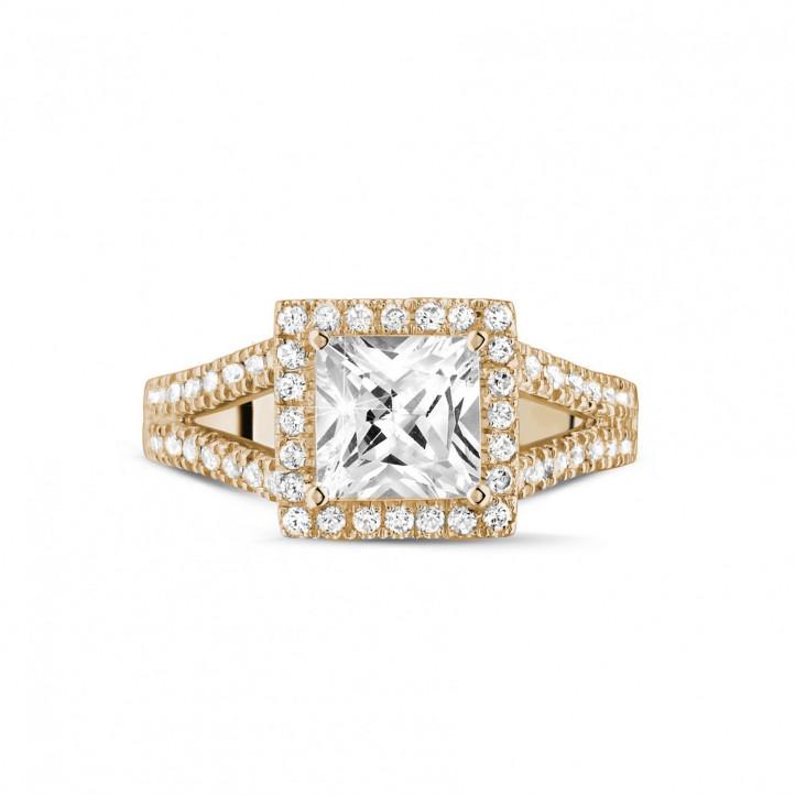 1.50 caraat solitaire ring in rood goud met princess diamant en zijdiamanten