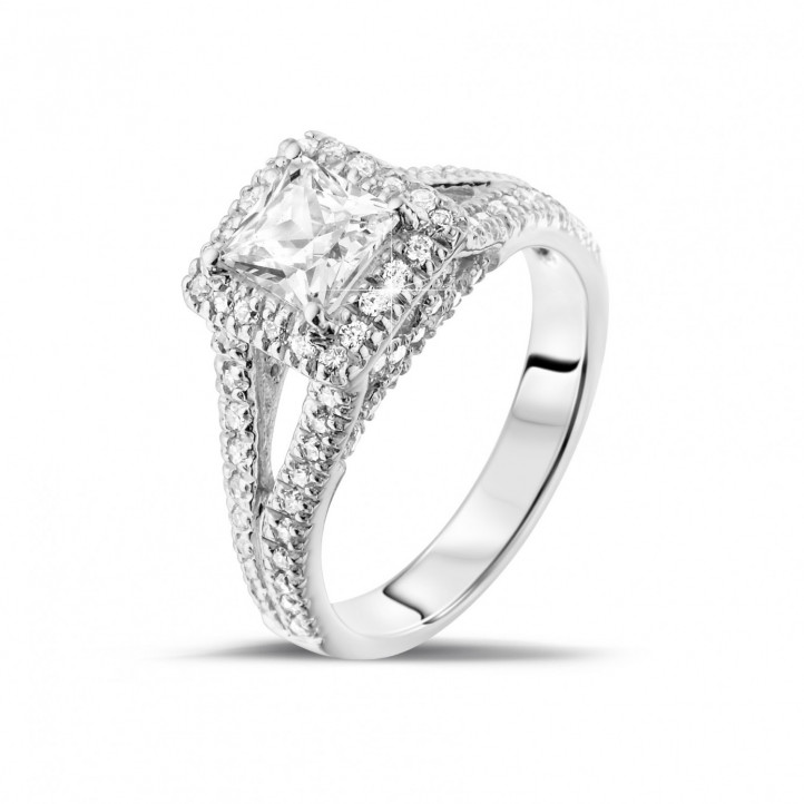 1.00 karaat solitaire ring in platina met princess diamant en zijdiamanten
