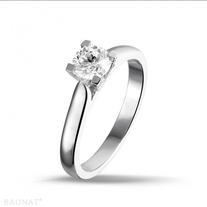 0.30 caraat diamanten solitaire ring in platina