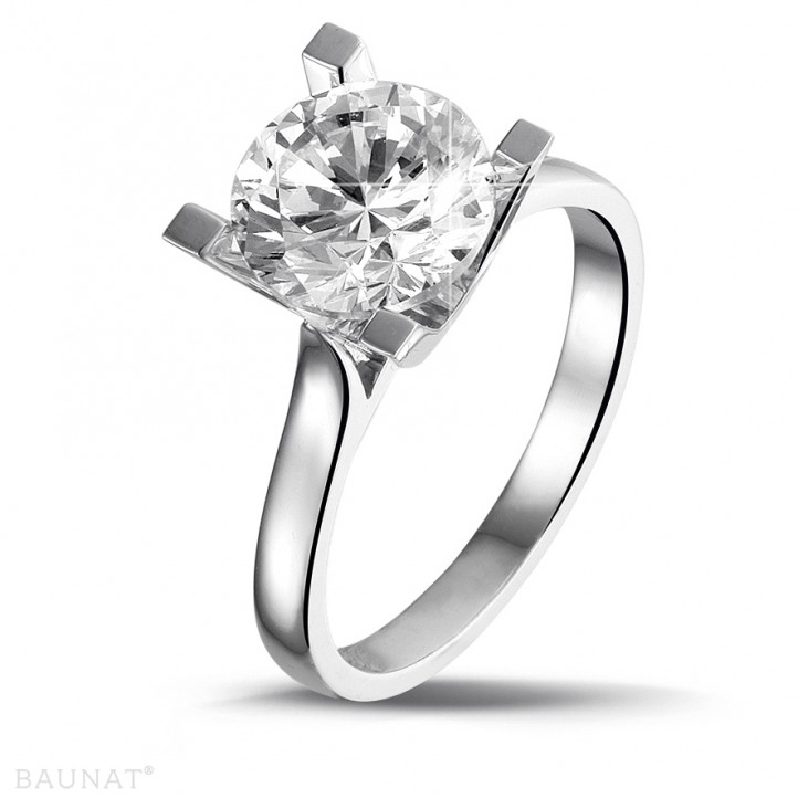 2.50 caraat diamanten solitaire ring in platina