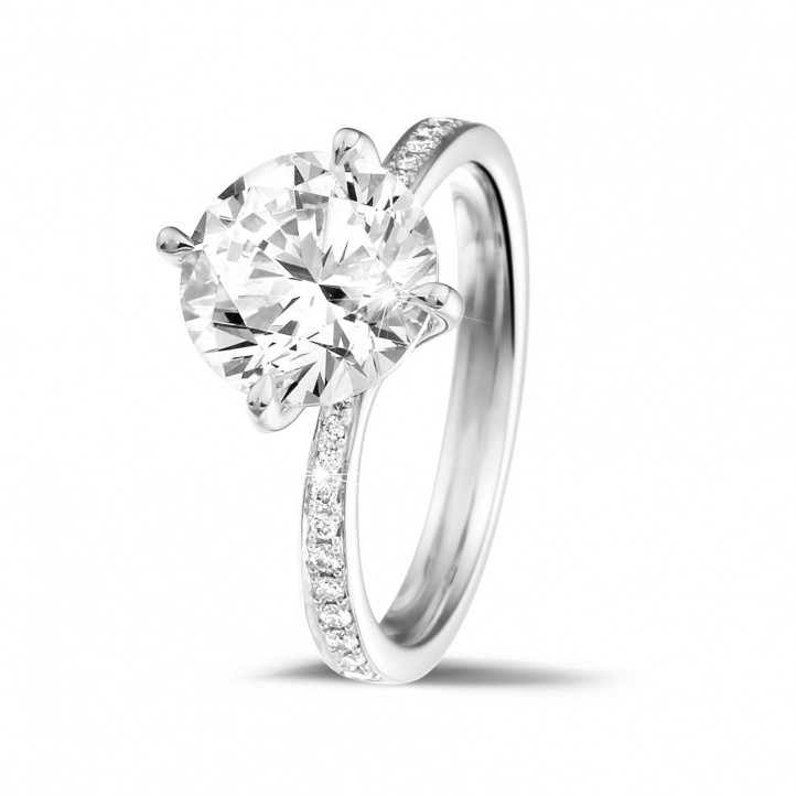 2.50 caraat diamanten solitaire ring in wit goud met zijdiamanten