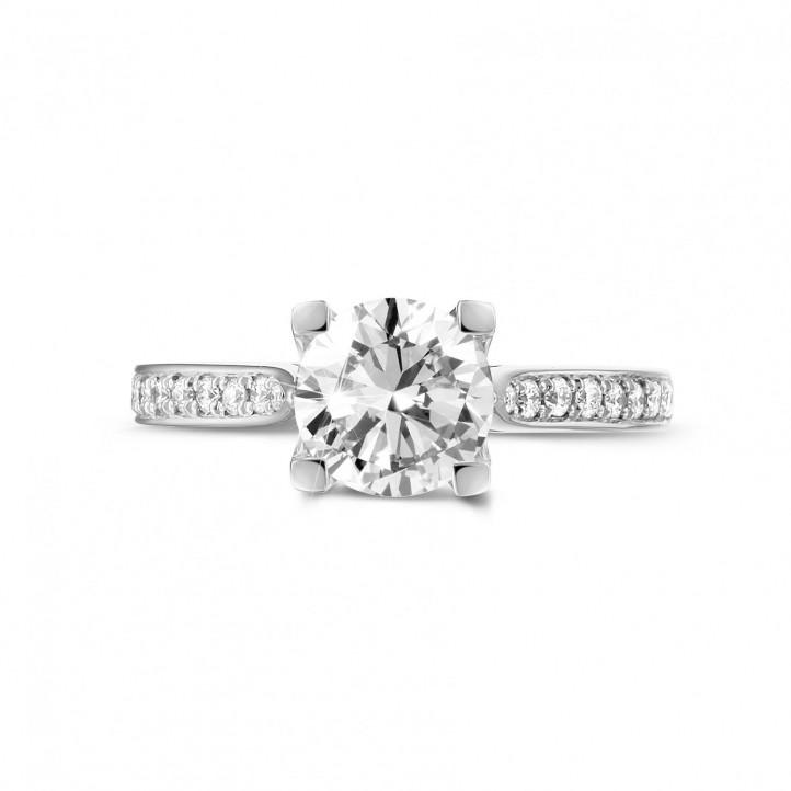 1.25 caraat diamanten solitaire ring in platina goud met zijdiamanten
