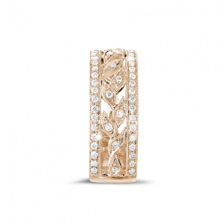 0.35 caraat brede florale alliance in rood goud met kleine ronde diamanten