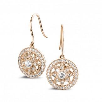 Oorbellen - 0.50 karaat diamanten oorbellen in rood goud