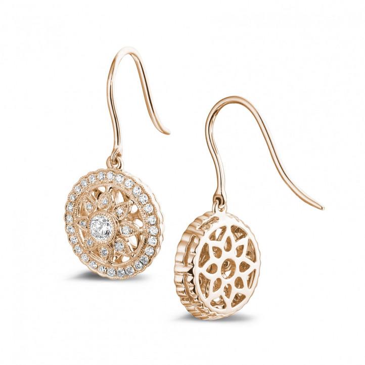 0.50 karaat diamanten oorbellen in rood goud