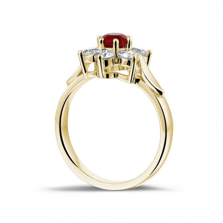 Bloemenring in geel goud met ronde robijn en zijdiamanten