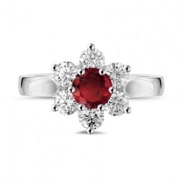 Bloemenring in platina met ronde robijn en zijdiamanten