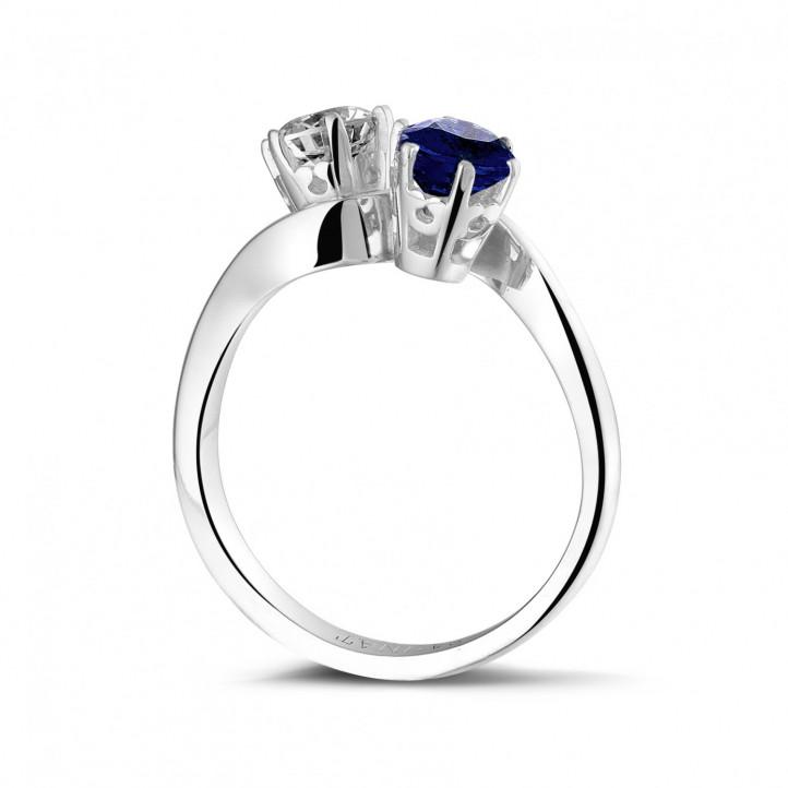 Toi et Moi ring in platina met ronde diamant en saffier