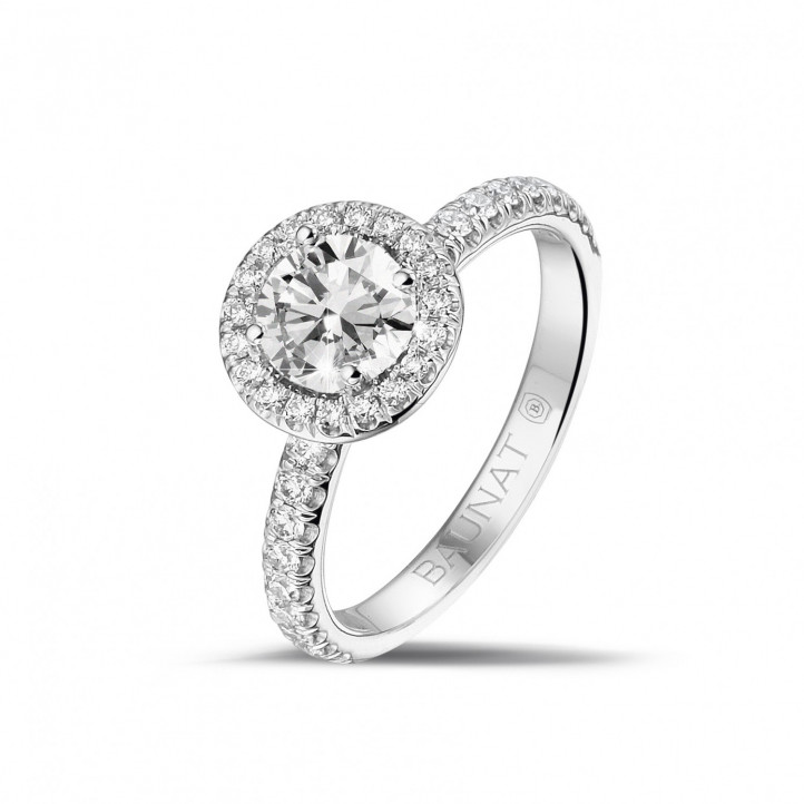 0.70 karaat Halo solitaire ring in platina met ronde diamanten