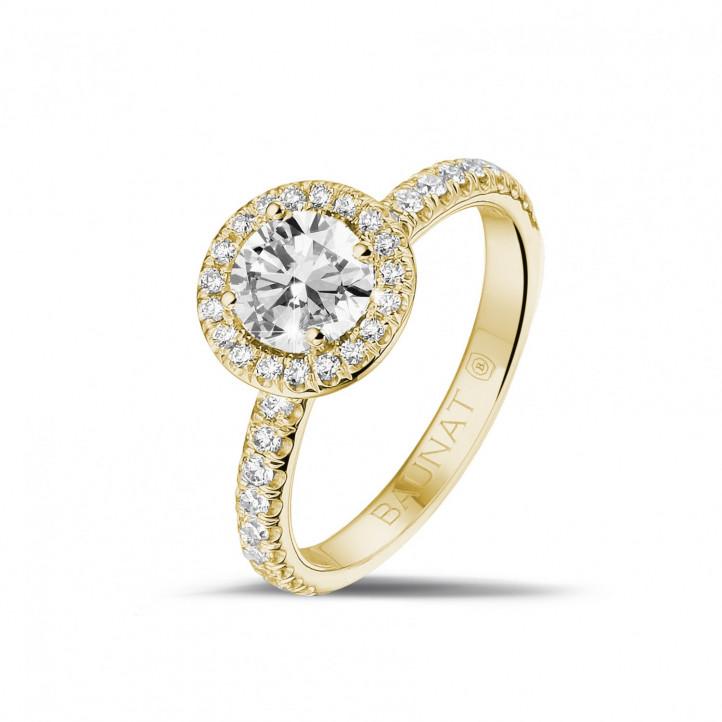 0.70 caraat Halo solitaire ring in geel goud met ronde diamanten