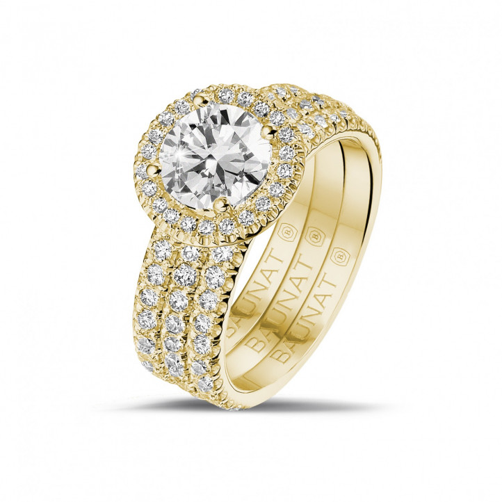 1.20 caraat Halo solitaire ring in geel goud met ronde diamanten