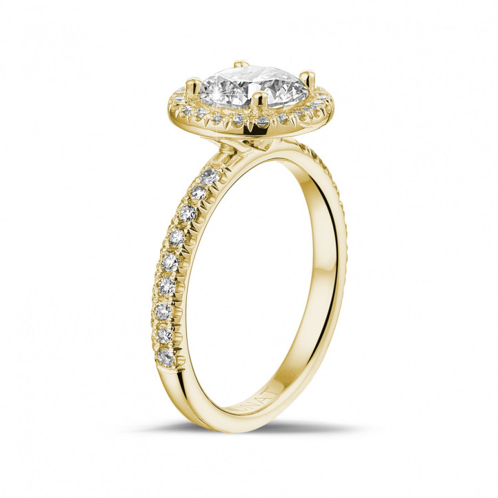 1.50 karaat Halo solitaire ring in geel goud met ronde diamanten