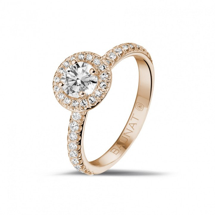 0.50 caraat Halo solitaire ring in rood goud met ronde diamanten
