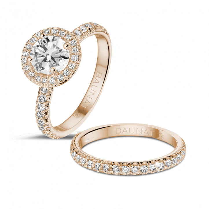 1.00 caraat Halo solitaire ring in rood goud met ronde diamanten