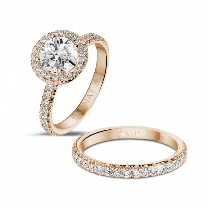 1.20 karaat Halo solitaire ring in rood goud met ronde diamanten