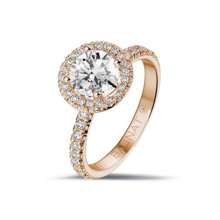 1.20 caraat Halo solitaire ring in rood goud met ronde diamanten