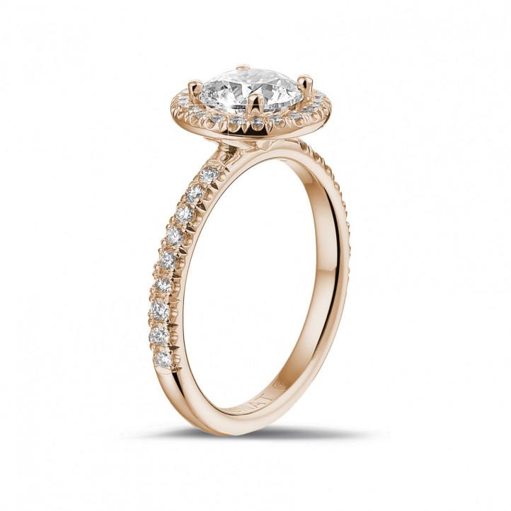 1.20 karaat Halo solitaire ring in rood goud met ronde diamanten