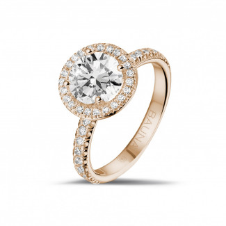 1.50 caraat Halo solitaire ring in rood goud met ronde diamanten