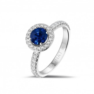 Platina Diamanten Ringen - Halo solitaire ring in platina met ronde saffier en kleine ronde diamanten