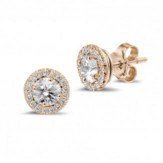 Oorbellen - 1.00 karaat diamanten halo oorbellen in rood goud