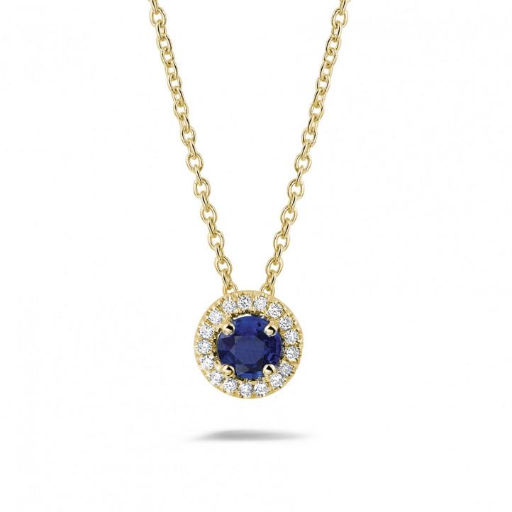 Halo halsketting in geel goud met centrale saffier en ronde diamanten