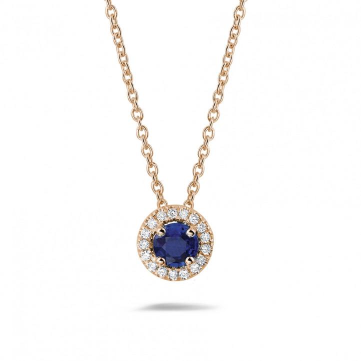Halo halsketting in rood goud met centrale saffier en ronde diamanten