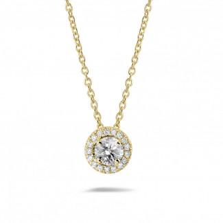 Classics - 0.50 karaat diamanten halo halsketting in geel goud