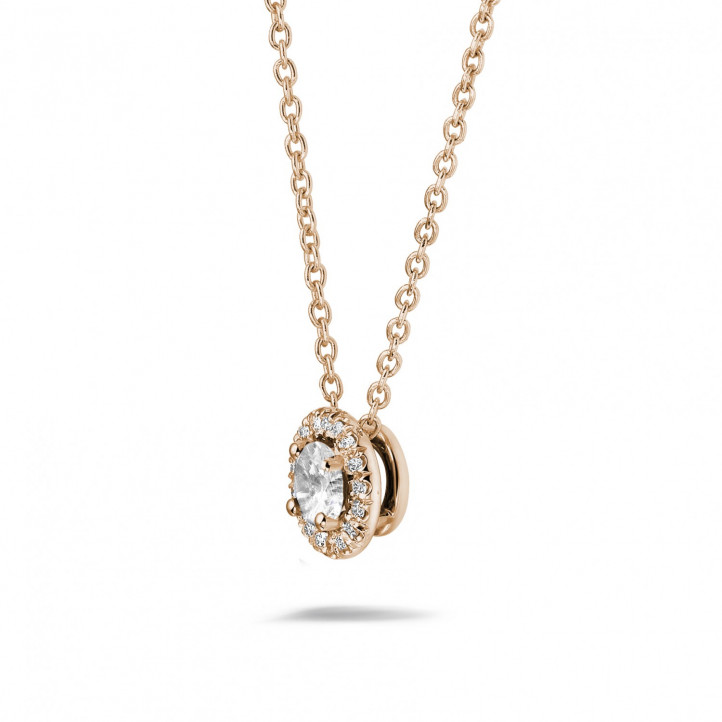 0.50 karaat diamanten halo halsketting in rood goud